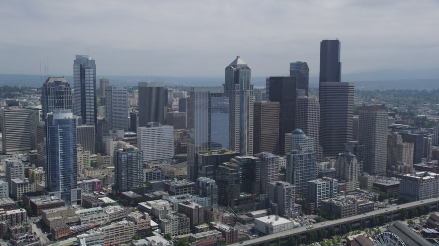 5K stock footage aerial video approaching skyscrapers and high-rises in Downtown Seattle, Washington Aerial Stock Footage | AX45_074
