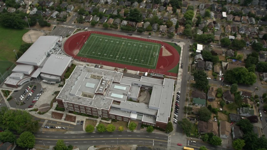 5k Stock Footage Aerial Video Of A Bird S Eye View Of Garfield High School And Football Field Central Seattle Washington Aerial Stock Footage Ax45 079 Axiom Images
