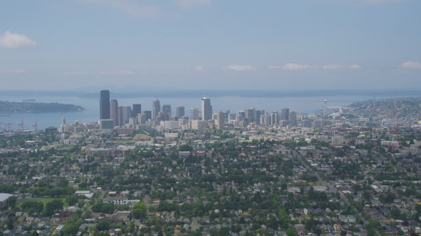 5K stock footage aerial video of downtown skyline from Central Seattle neighborhoods, Downtown Seattle, Washington Aerial Stock Footage | AX45_082