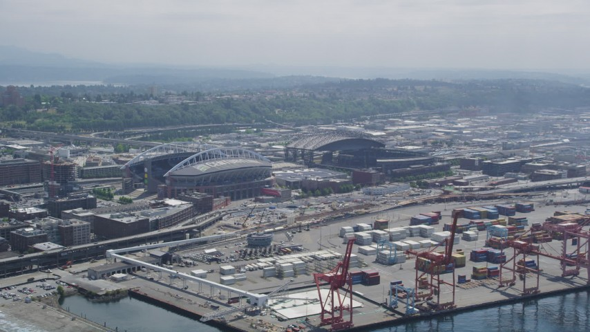 5K stock footage aerial video approaching CenturyLink Field and Safeco Field, Downtown Seattle, Washington Aerial Stock Footage | AX45_089