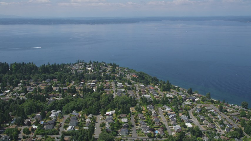 5K stock footage aerial video pass by a residential neighborhood on the shore of Puget Sound, Ballard, Washington Aerial Stock Footage | AX45_112