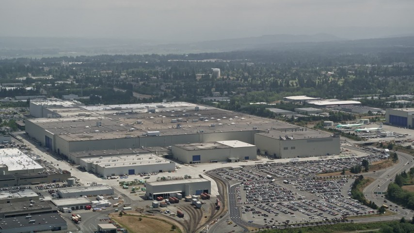 5K stock footage aerial video of the Boeing Everett Factory at Paine Field, Washington Aerial Stock Footage | AX45_136