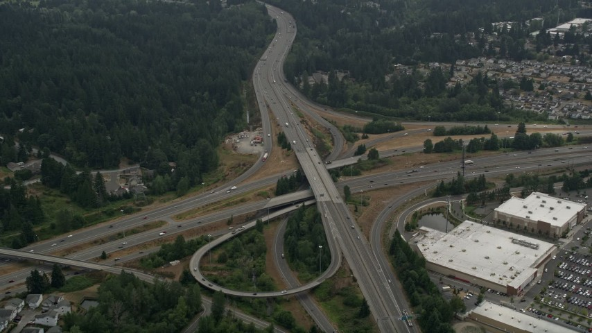 5K stock footage aerial video approach the I-5 and I-405 freeway interchange, Lynnwood, Washington Aerial Stock Footage | AX46_009