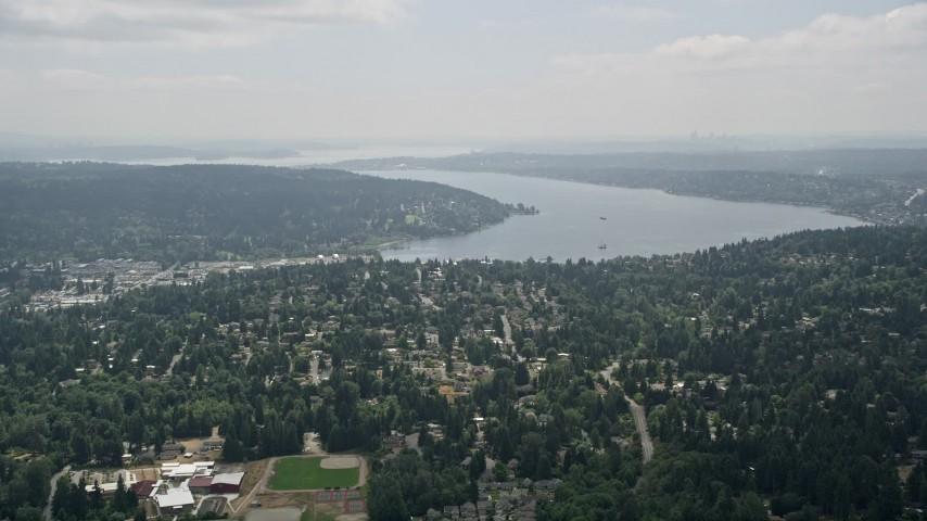5K aerial video approach suburban houses and Lake Washington, Brier, Washington Aerial Stock Footage | AX46_013