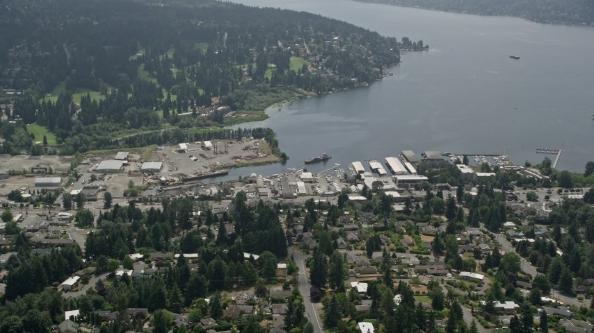 5K stock footage aerial video approaching seaplane airport Kenmore Air Harbor on Lake Washington, Kenmore, Washington Aerial Stock Footage | AX46_015