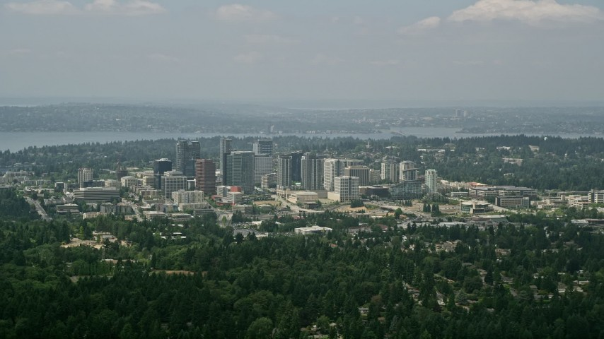 5K stock footage aerial video of skyscrapers and city buildings in Downtown Bellevue, Washington Aerial Stock Footage | AX46_041