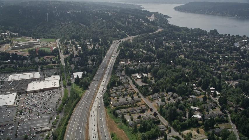 5K aerial video fly over I-405 and a suburban community toward Lake Washington, Bellevue, Washington Aerial Stock Footage | AX46_044