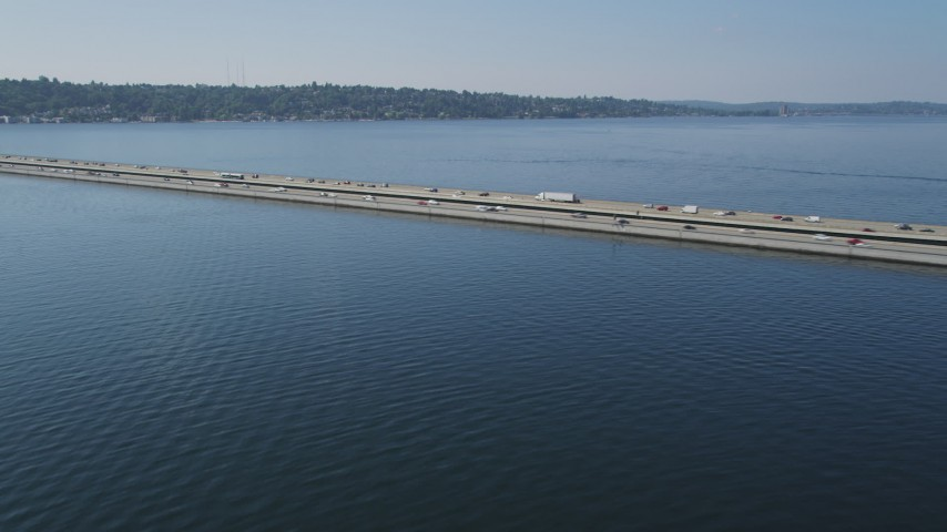 5K stock footage aerial video approach and pan across Lacey V. Murrow Memorial Bridge spanning Lake Washington, Washington Aerial Stock Footage | AX47_011