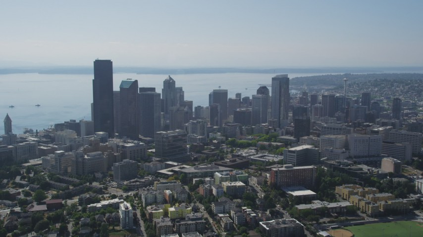 5K stock footage aerial video approach Downtown Seattle skyscrapers and city buildings from from Central Seattle, Washington Aerial Stock Footage | AX47_018