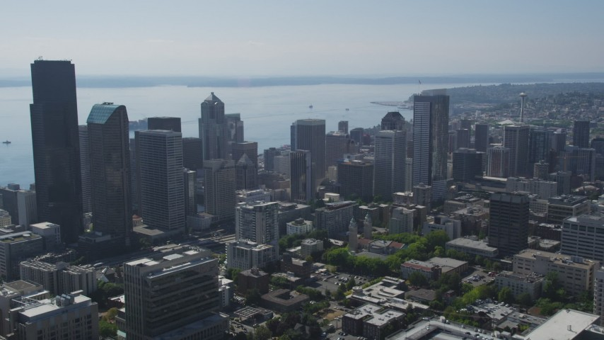 5K stock footage aerial video of approaching skyscrapers and high-rises in Downtown Seattle, Washington Aerial Stock Footage | AX47_019