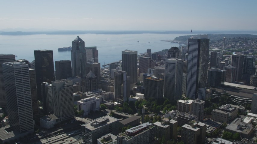 5K stock footage aerial video approach Rainier Tower, skyscrapers and high-rises in Downtown Seattle, Washington Aerial Stock Footage | AX47_020