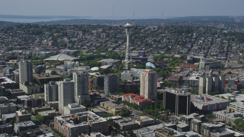 5K stock footage aerial video of a view of the Space Needle and high-rise buildings, Seattle, Washington Aerial Stock Footage AX47_023 | Axiom Images