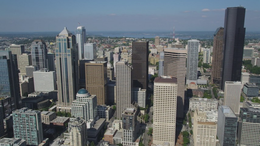 5K stock footage aerial video approach group of skyscrapers and high-rises in Downtown Seattle, Washington Aerial Stock Footage | AX47_038