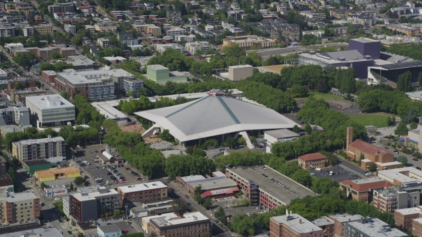 5K stock footage aerial video of KeyArena multipurpose arena at Seattle Center in Downtown Seattle, Washington Aerial Stock Footage | AX47_048