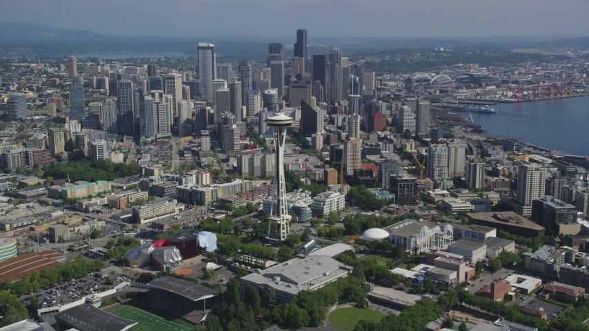 5K stock footage aerial video of a view of the Space Needle, and downtown skyscrapers in the background, Downtown Seattle, Washington Aerial Stock Footage | AX47_050