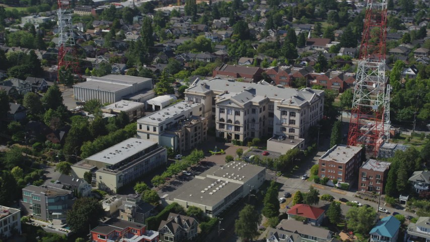 5K stock footage aerial video of flying by Queen Anne High School in Seattle, Washington Aerial Stock Footage | AX47_063