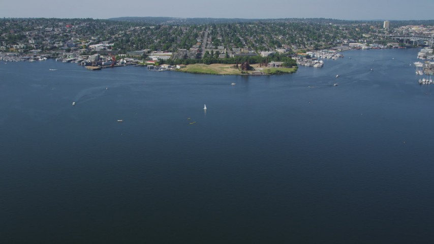 5K stock footage aerial video fly over Lake Union to approach Gas Works Park, Wallingford, Seattle, Washington Aerial Stock Footage | AX47_065