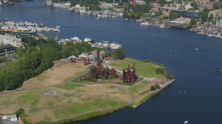 5K stock footage aerial video of flying by Gas Works Park beside Lake Union, Wallingford, Seattle, Washington  Aerial Stock Footage | AX47_074