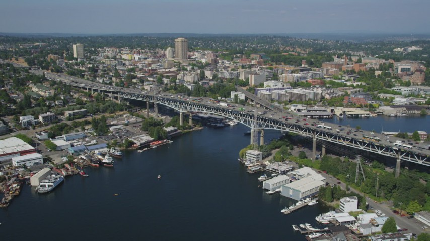 5K stock footage aerial video approach the Ship Canal Bridge spanning the east side of Lake Union, Seattle, Washington Aerial Stock Footage | AX47_076