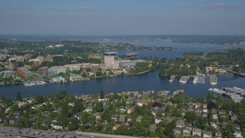 5K stock footage aerial video of approaching University of Washington and Portage Bay in Seattle, Washington Aerial Stock Footage | AX47_082