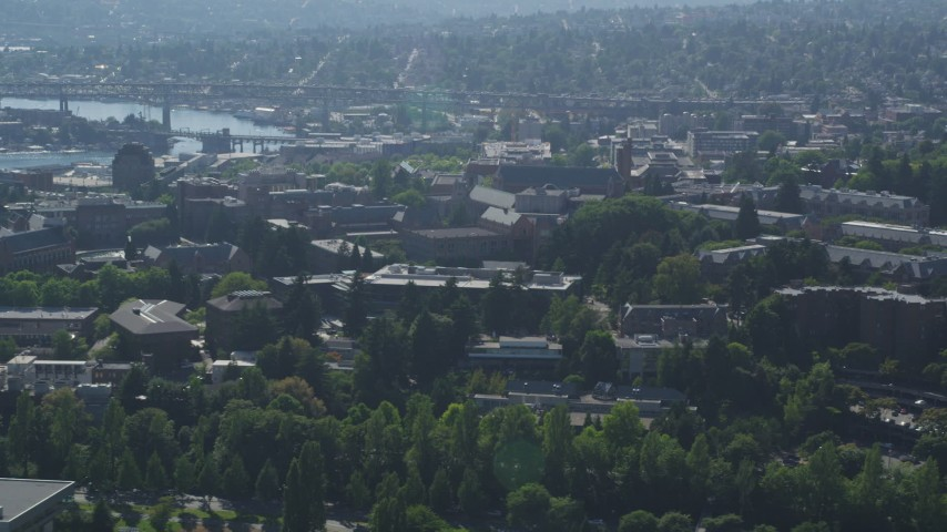 5K stock footage aerial video of University of Washington campus buildings, Seattle, Washington Aerial Stock Footage AX47_087