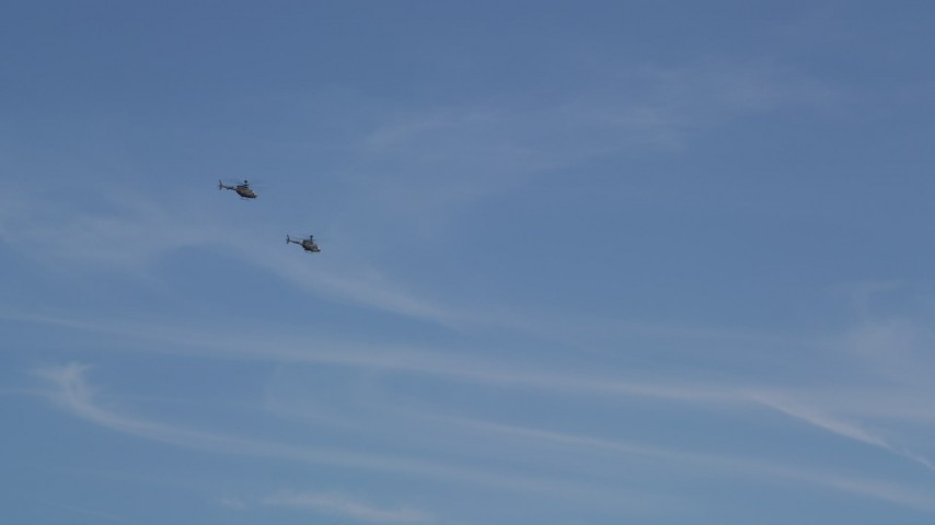 Pair Of Kiowa Warrior Helicopters Flying Over Seattle Washington - Flying to seattle washington