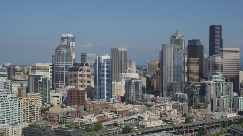 5K stock footage aerial video of Downtown Seattle skyscrapers and city buildings in Washington Aerial Stock Footage | AX47_120