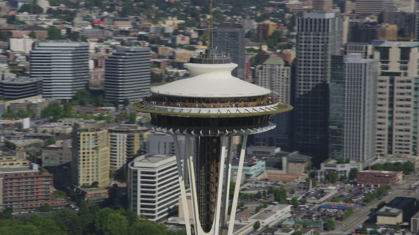 5K stock footage aerial video of orbiting around the top of the Space Needle in Downtown Seattle, Washington Aerial Stock Footage | AX47_127