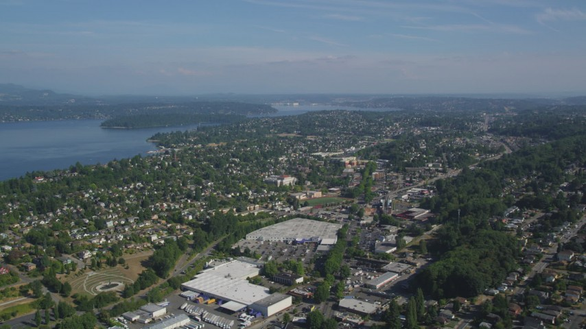 5K stock footage aerial video approach Mount Baker suburban neighborhoods beside Lake Washington, Seattle, Washington Aerial Stock Footage | AX47_141