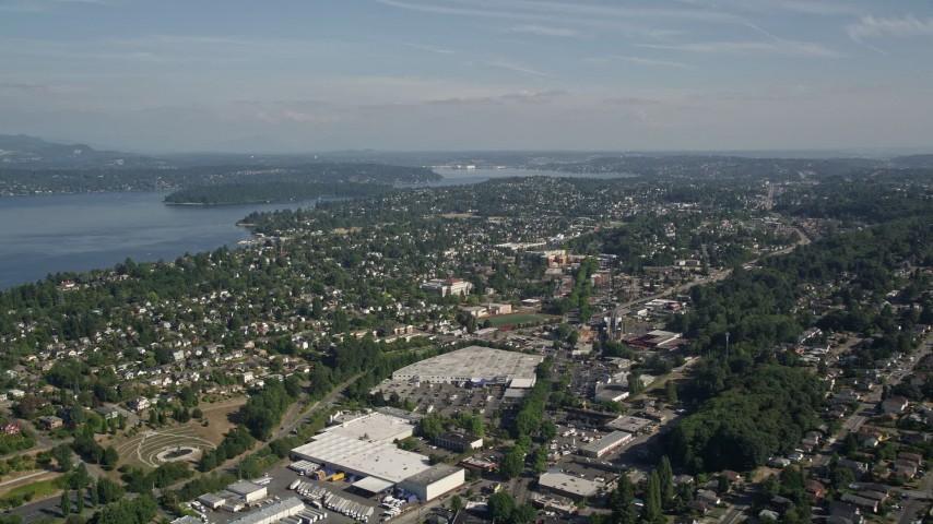 5K aerial video approach Mount Baker suburban neighborhoods beside Lake Washington, Seattle, Washington Aerial Stock Footage | AX47_141