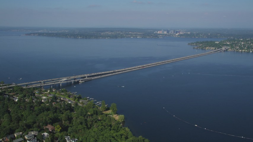 5K stock footage aerial video of Lacey V. Murrow Memorial Bridge spanning Lake Washington to Mercer Island, Seattle, Washington Aerial Stock Footage | AX47_142