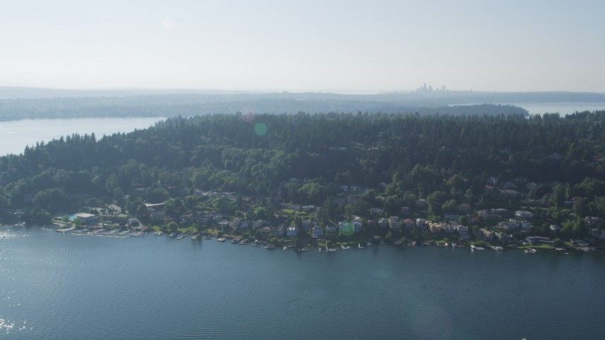 5K stock footage aerial video flyby lakefront homes on Mercer Island, Lake Washington Aerial Stock Footage | AX48_003