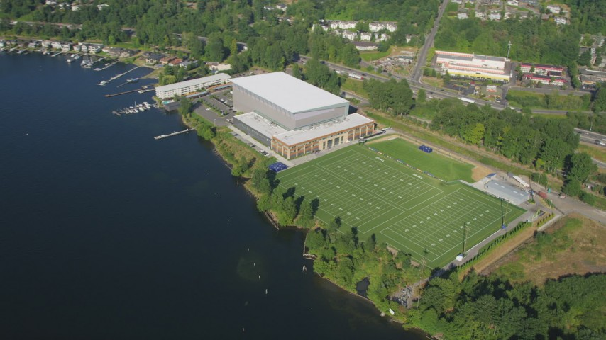 5K stock footage aerial video of athletic center and sports fields by the shore of Lake Washington in Renton, Washington Aerial Stock Footage | AX48_004