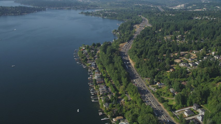 5K stock footage aerial video approach I-405 and lakeside homes in Bellevue, Washington Aerial Stock Footage | AX48_005