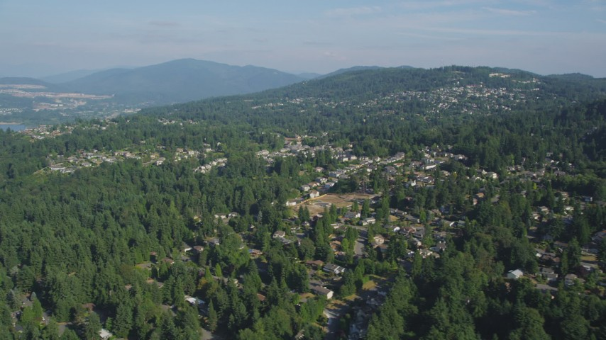 5K stock footage aerial video flyby suburban homes on a hill with trees, Bellevue, Washington Aerial Stock Footage | AX48_013