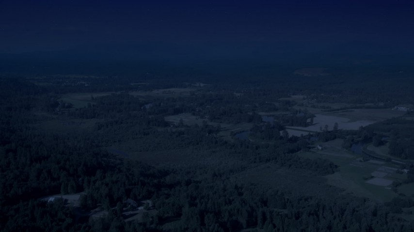 4K day for night color corrected aerial footage of farmland in Carnation, Washington Aerial Stock Footage | AX48_027_DFN