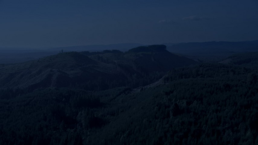 4K day for night color corrected aerial footage of green hills and evergreen forest in King County, Washington Aerial Stock Footage | AX48_049_DFN