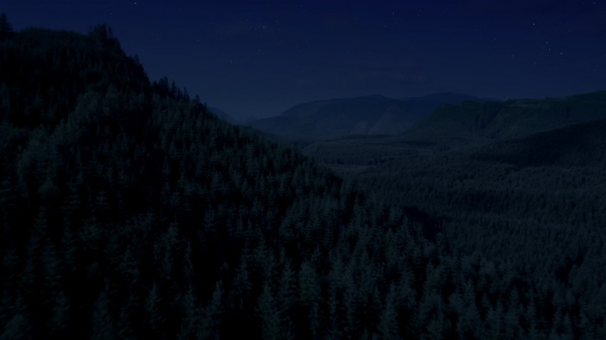 Day for night color corrected aerial footage of flying over wooded mountain slope toward a clear cut area, King County, Washington Aerial Stock Footage | AX48_054_DFN