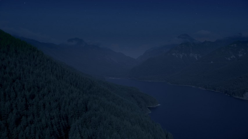 Day for night color corrected aerial footage of evergreen trees on mountain slope next to the South Fork Tolt Reservoir, Cascade Range, Washington Aerial Stock Footage AX48_059_DFN