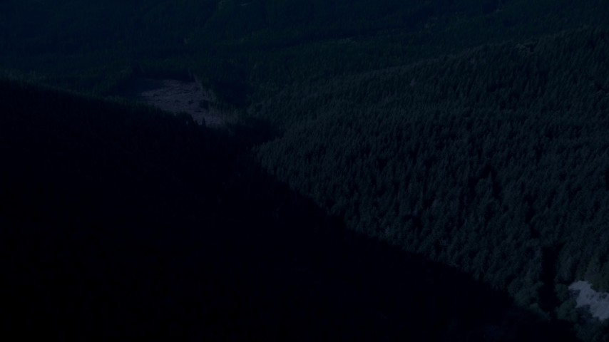 4K day for night color corrected aerial footage of a bird's eye of a river through evergreen forest in the Cascade Range, Washington Aerial Stock Footage | AX48_065_DFN