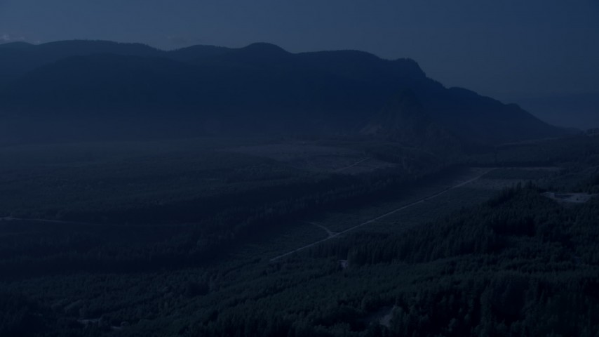 Day for night color corrected aerial footage of a forest road through newer forest growth area near the Cascade Range, King County, Washington Aerial Stock Footage | AX48_067_DFN