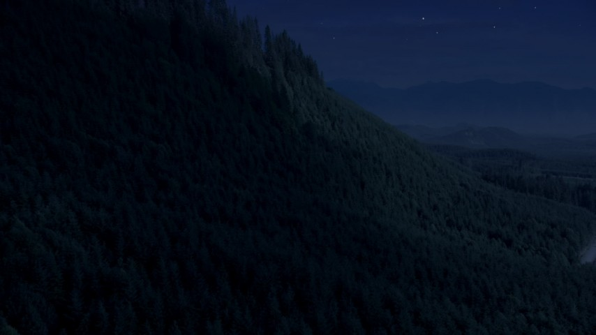 Day for night color corrected aerial footage of approach and pan across a ridge with evergreen trees in King County, Washington Aerial Stock Footage | AX48_078_DFN