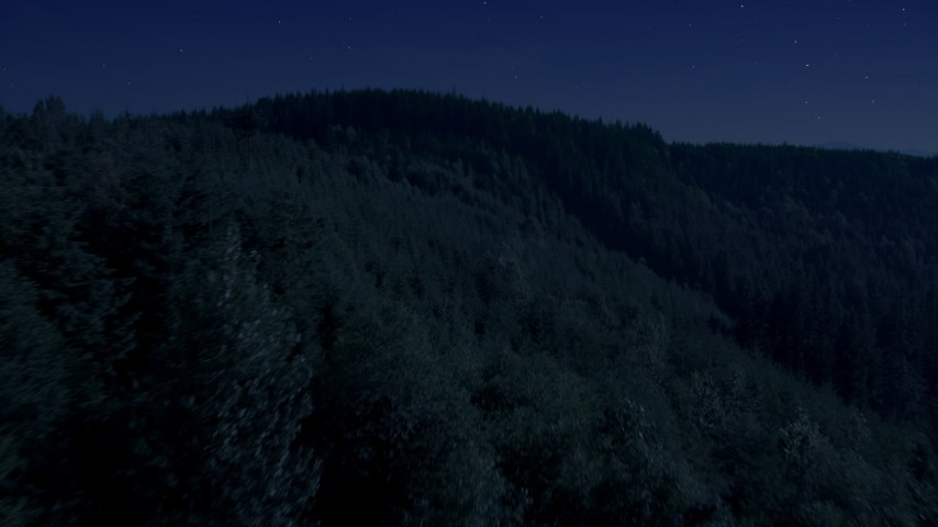 Day for night color corrected aerial footage of flying over an evergreen forest and approach a mountain ridge in the Cascade Range, Washington Aerial Stock Footage | AX48_083_DFN