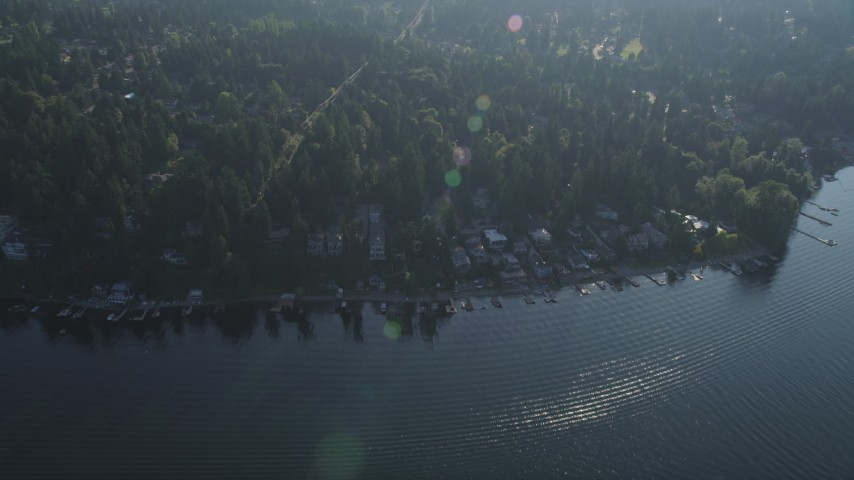 5K stock footage aerial video fly over lakeside homes and docks, and suburban neighborhoods, in Bellevue, Washington Aerial Stock Footage | AX49_032