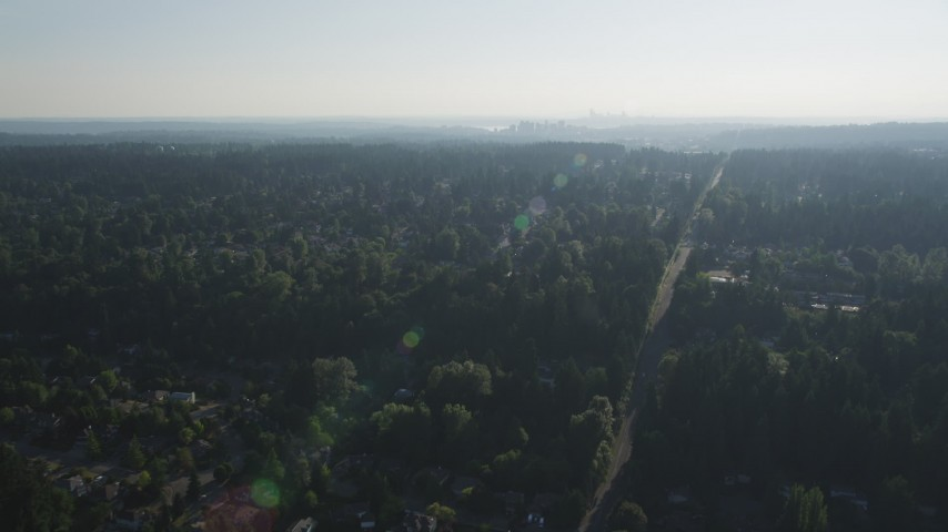 5K aerial video of flying over a suburban neighborhood crowded with trees toward Downtown Bellevue, Washington Aerial Stock Footage | AX49_033