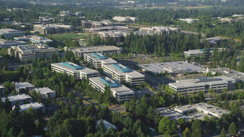 5K stock footage aerial video of Microsoft Headquarter office complex, Redmond, Washington Aerial Stock Footage | AX49_038