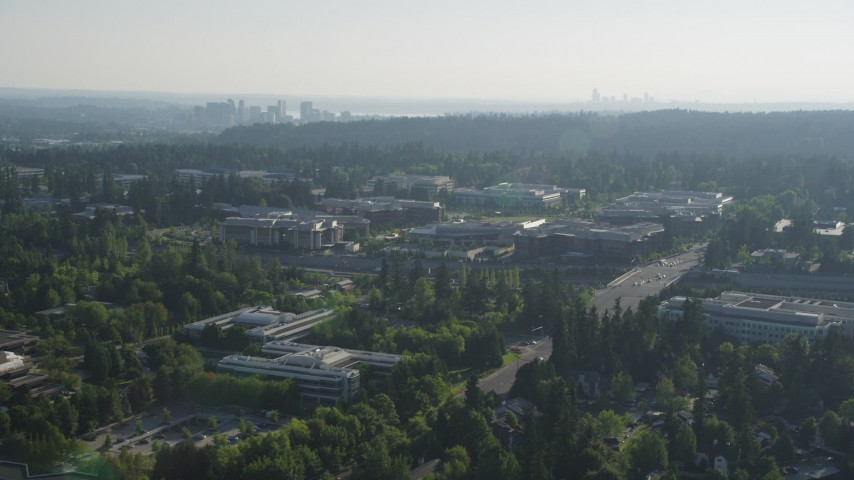 5K stock footage aerial video of reverse view of Microsoft Headquarters office complex in Redmond, Washington Aerial Stock Footage | AX49_042