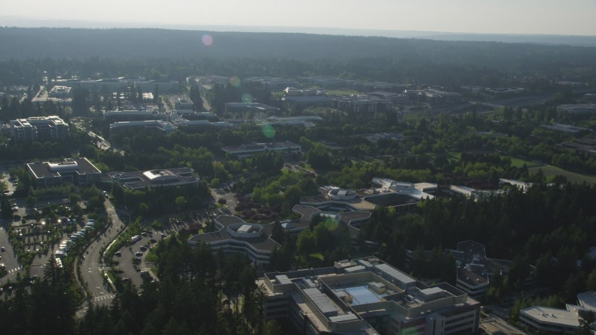 5K stock footage aerial video of orbiting the Microsoft Headquarters office complex, Redmond, Washington Aerial Stock Footage | AX49_044