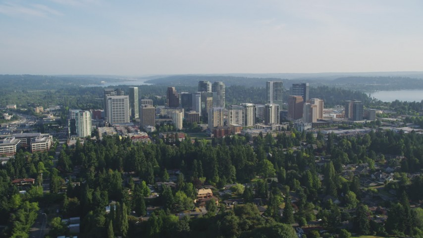5K stock footage aerial video of Downtown Bellevue city buildings seen from north of the city, Washington Aerial Stock Footage | AX49_049