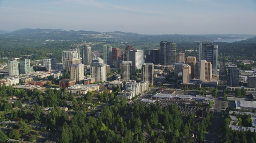 5K stock footage aerial video of flying by skyscrapers and high-rises, Downtown Bellevue, Washington Aerial Stock Footage | AX49_050